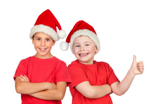 Two children with Christmas hat