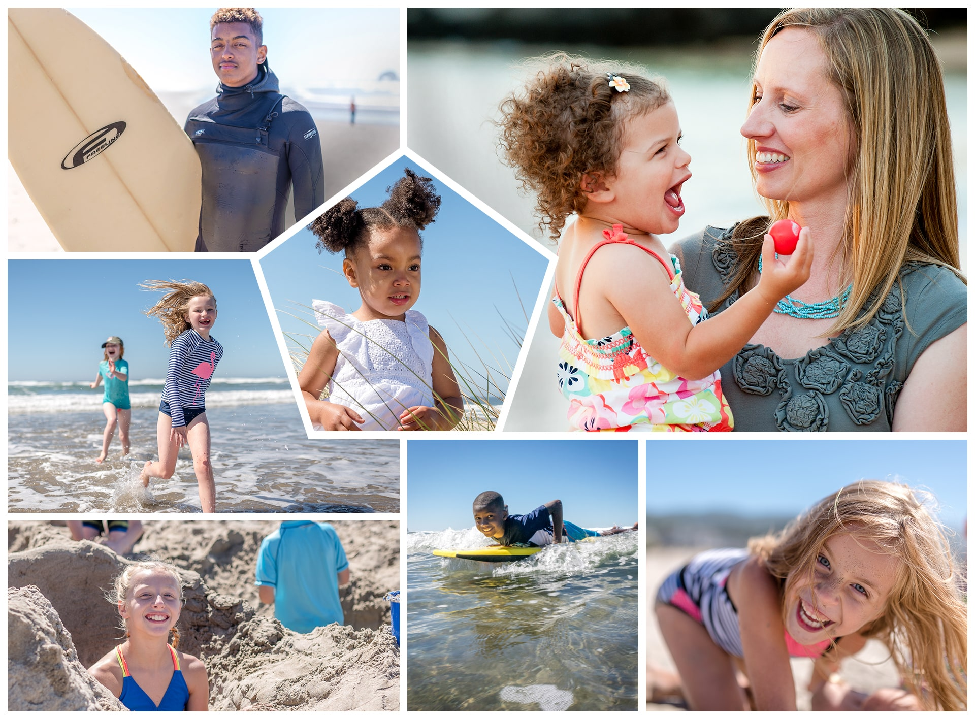 Collage of photos of little children on the beach - surfing the wave to catch that perfect smile