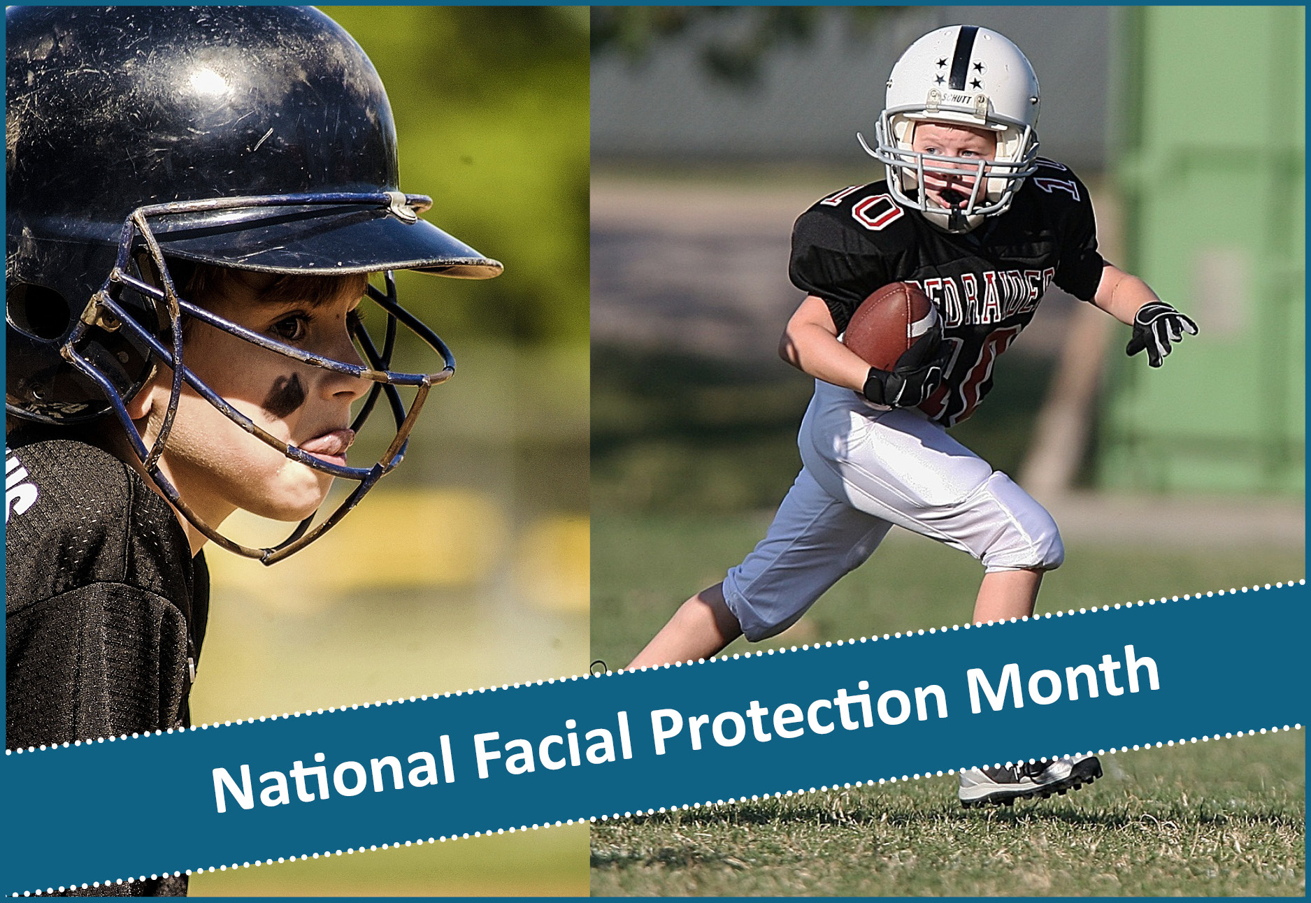Kids in sports wearing facial protection and mouth guards