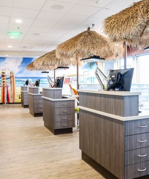 Inside our pediatric dental office in Richland, WA with a fun, coastal theme