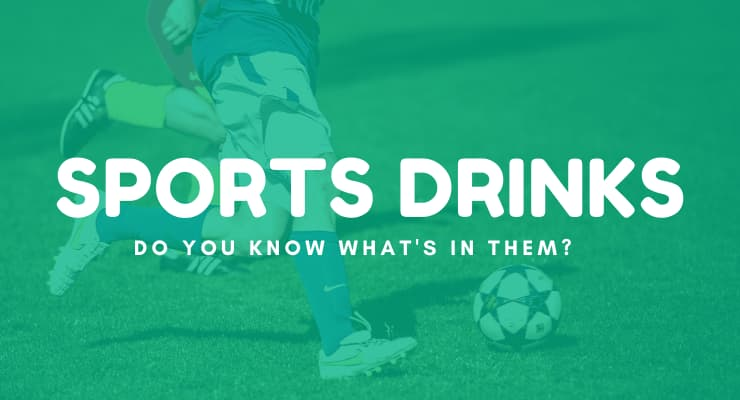 "Kids kicking a soccer ball with text ""Sport drinks, do you know what's in them?"""