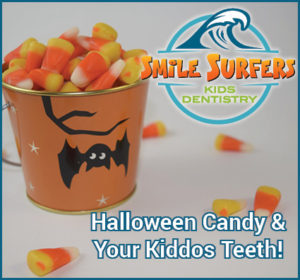 "Bucket of Candy Corn and logo and text, ""Halloween Candy & Your Kidods Teeth!"""