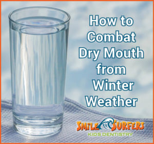 "A glass of water with text, ""How to combat dry mouth from winter weather"""